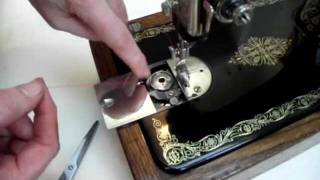 How to thread a vintage round bobbin sewing machine - Singer 99K