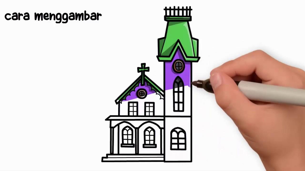 Cara Menggambar Gereja Dengan Sangat Mudah Youtube