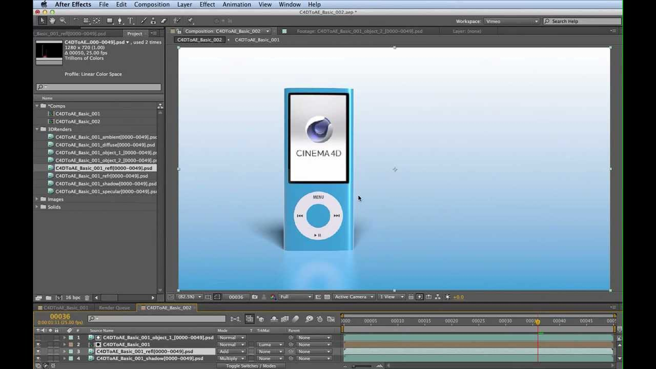 CINEMA 4D to After Effects Basic: Part 3/3 (~20mins)