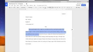 Setting up MLA format in Google Docs