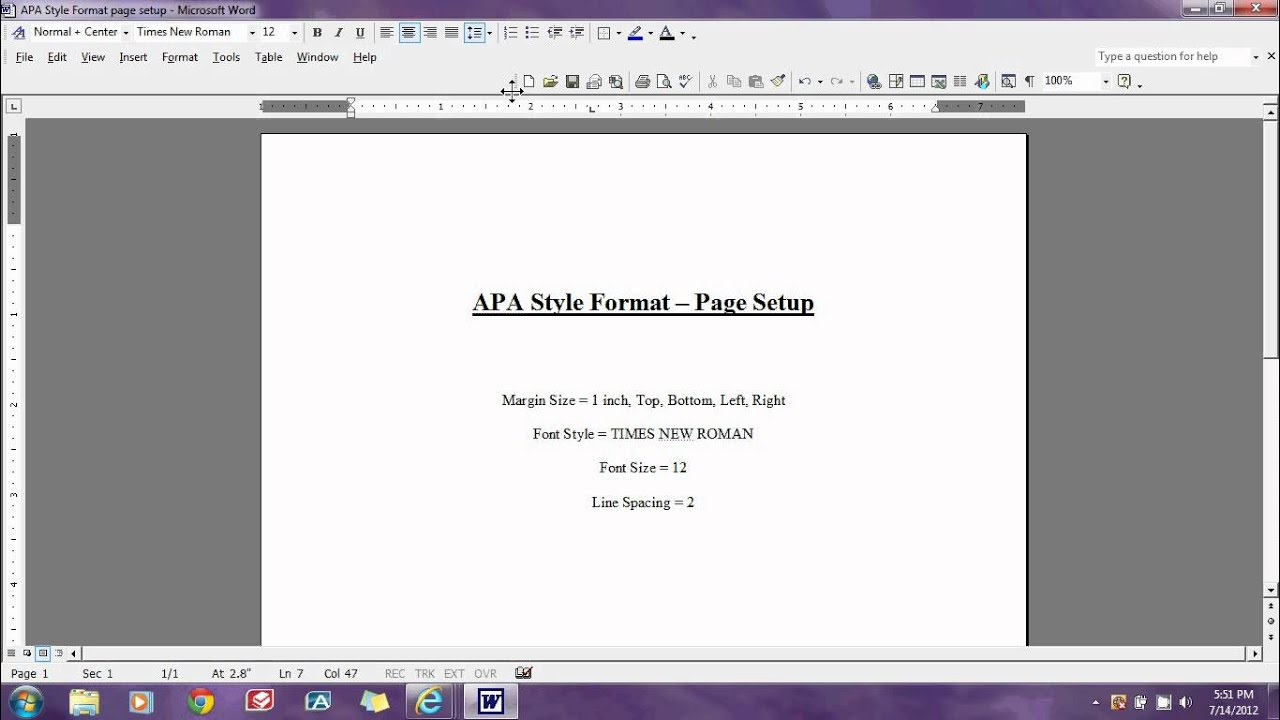 set up word for apa format