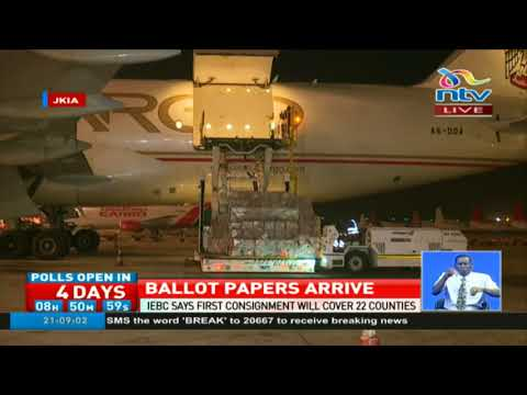 Ballot papers for next week's election arrive at JKIA