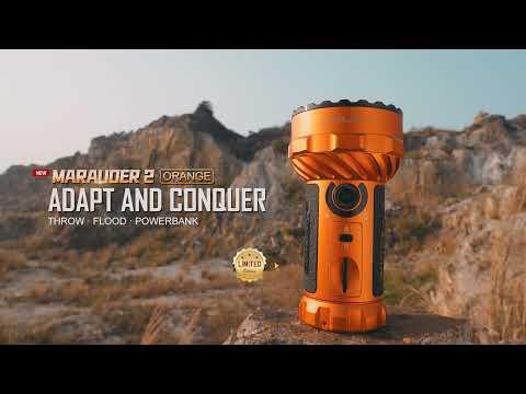 Senter Olight Marauder 2 Orange Flashlight LED 14000 Lumens 800 Meter