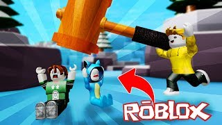 WE GOLPE WITH THE HUGE HAMMER!! ROBLOX MONSTRUOS SIMULATOR 💙💚💛 BE BE BE BEBE MILO VITA AND ADRI 😍