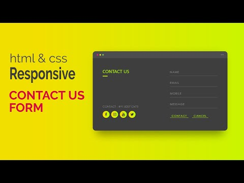 Responsive Contact Us Form In HTML & CSS   How To Design Responsive Contact Us Web Page In Html Css