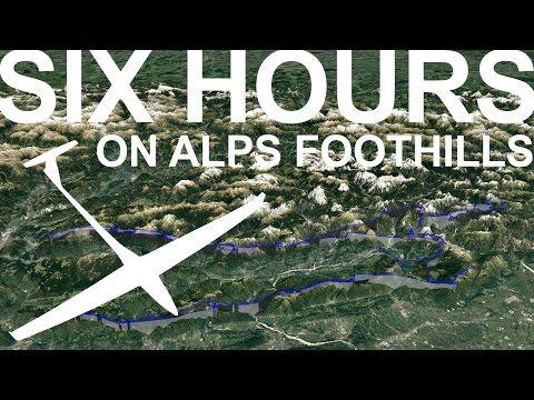 Glider flight on Alps foothills  - New longest Gliding video on Youtube?