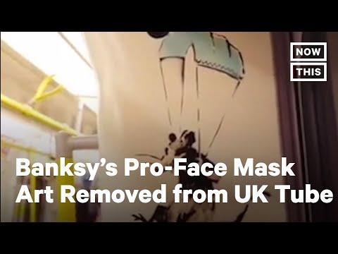 Intervenció de Bansky pro-mascaretes al metro de Londres