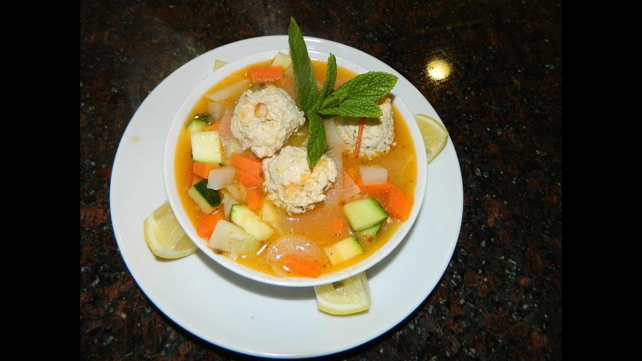 Receta caldo de albondigas de pollo con verduras youtube for Albondigas de verduras