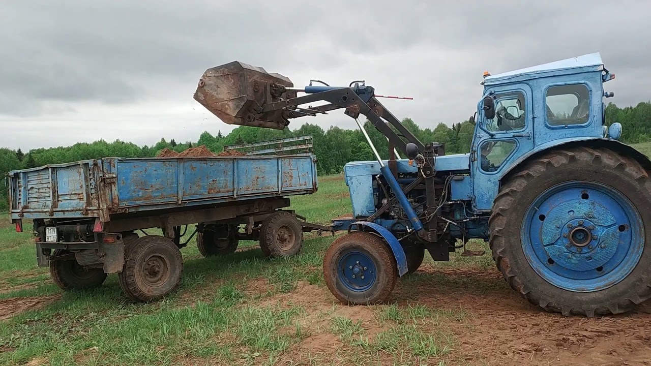 Погрузка песка на тракторе т 40 с усиленным мостом