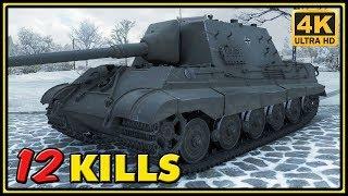 Jagdtiger 8,8 cm Pak 43 - 12 Kills - 1 VS 7 - World of Tanks Gameplay - 4K Ultra HD Video