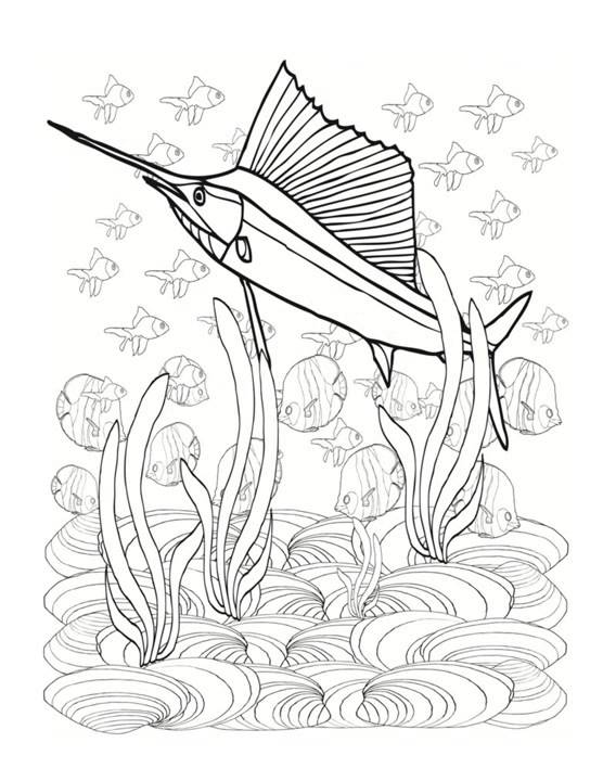 FASCINATING SEA ANIMALS Coloring Book For Adults