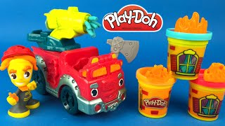 Playdoh Town Fire Truck or Fire Tank Engine - Mighty Machine with Fireman and PlayDoh Water Cannon