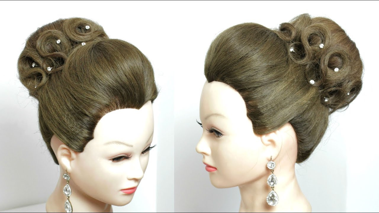 High Bun Updo Hairstyle For Wedding. Prom Hair Tutorial - YouTube