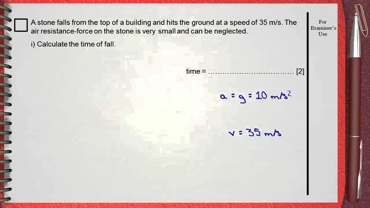 Q8 Ch1 Mechanics L1 Kinematics (speed time graph) IGCSE past papers