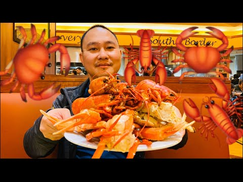 EATING ONLY NO TALKING 🦞🦀😋 - Lobster Buffet - Jackson Rancheria Fisherman's Wharf Seafood Buffet