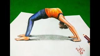 yoga drawing 3d drawings draw easy healthy illusion