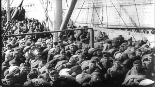 US Navy troop transport ships bring American Expeditionary Forces to France durin...HD Stock Footage