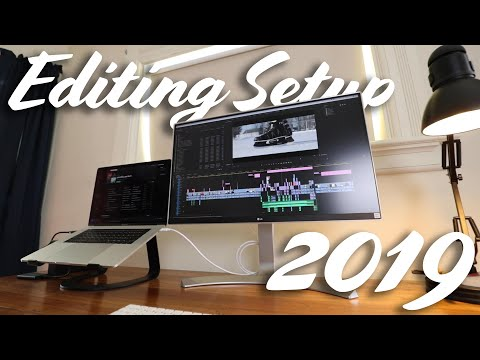 2019 Video Editing Desk Setup | Ethan Bares (MacBook, Sit/Stand Desk, LG Monitor)