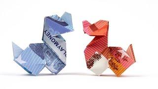 Hund aus Geld falten, Tiere aus Geldschein basteln, Origami Anleitung