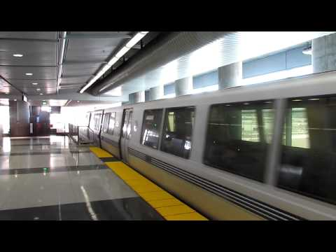 BART SFO Airport Station Weekend Service Trains Arriving