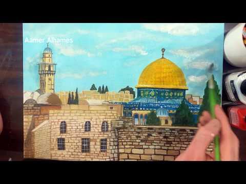 رسم مسجد قبة الصخرة بألوان الأكريلك  | speed drawing