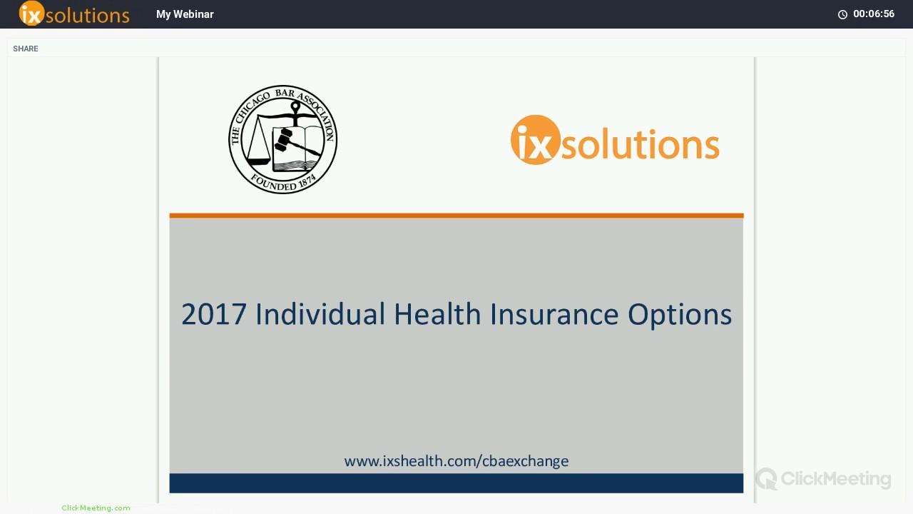 CBA Webinar on 2017 Individual Health Insurance Plans