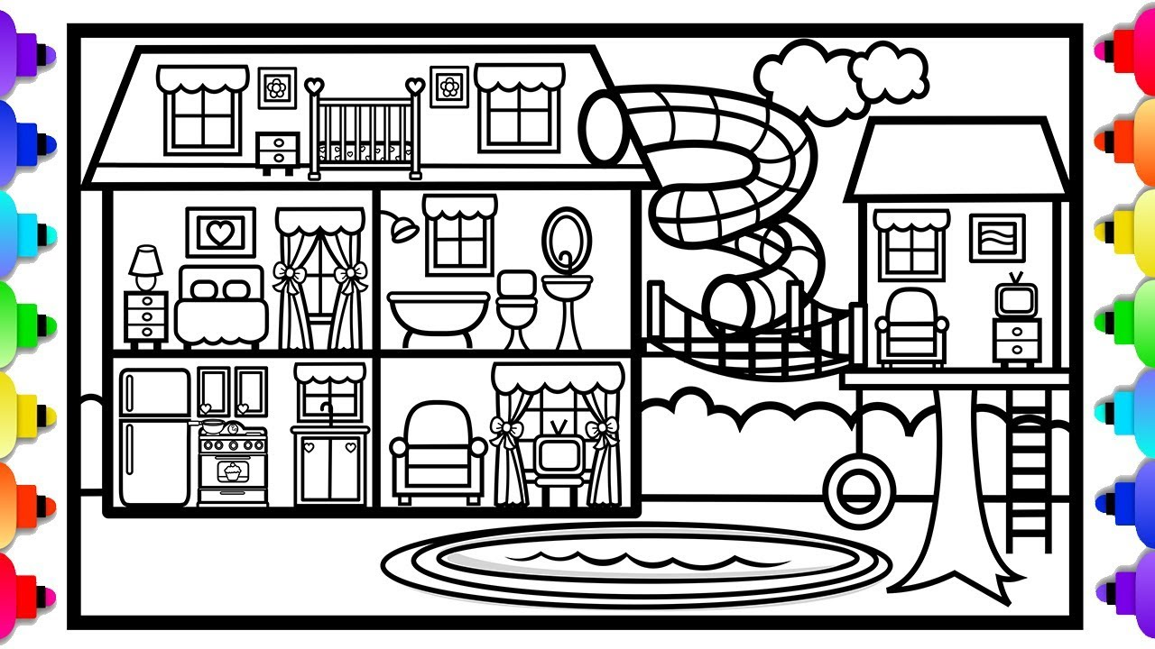 How to draw a big house with a fun slide and a tree house 💙🏡💚 house coloring pages for kids