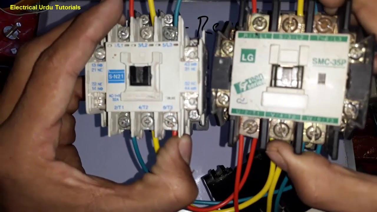 forward reverse motor control wiring of 3 phase motor starter hindi urdu  [ 1280 x 720 Pixel ]