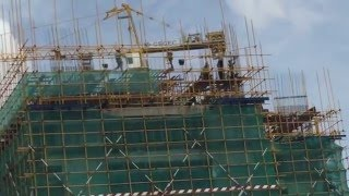 Construction work at highrise building in Vietnam