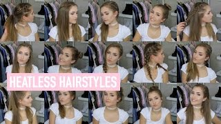 18 QUICK & EASY HEATLESS HAIRSTYLES!! | Mel Joy