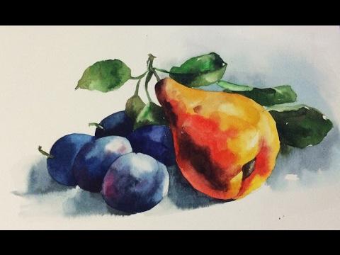 Как нарисовать натюрморт акварелью поэтапно для начинающих фрукты