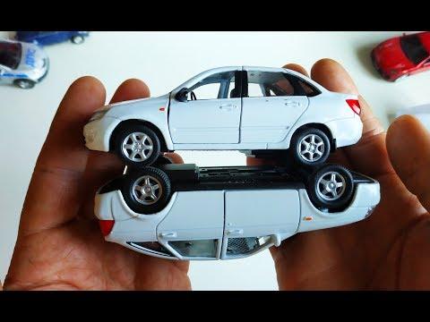 Машинки. Открываю 2 модельки машинки Лада / Lada Гранта и Приора распаковка и обзор.