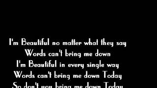 (You're) Beautiful - MashUp - Christina Aguilera - James Blunt - Lyrics