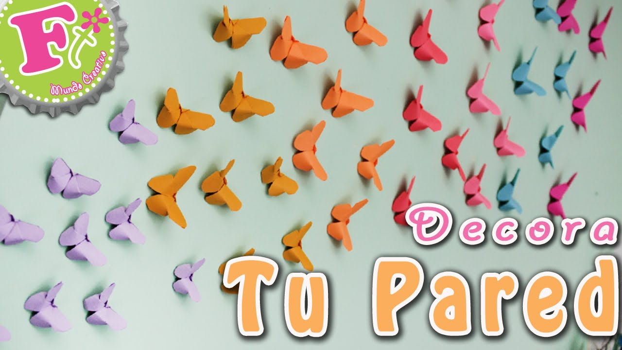 Diy mariposas origami para decorar tu pared youtube - Como decorar pared con fotos ...