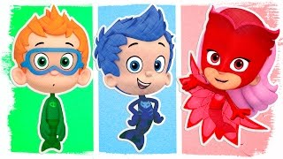 PJ Masks as Bubble Guppies | Fun Coloring Videos For Kids
