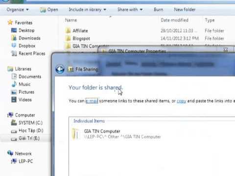 Cách chia sẻ File trong Mạng Lan Win 7