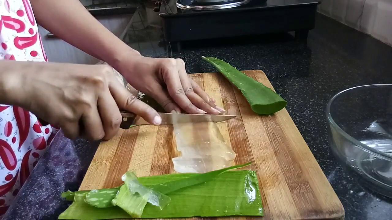 how to cut aloe vera leaf for hair