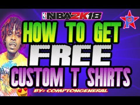 HOW TO GET FREE CUSTOM T SHIRTS 🔥 EASY🔥 #NBA2K18 TUTORIAL