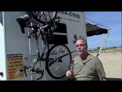 Rv Bicycle Rack Uses Roof Ladder To Transport Bikes Youtube