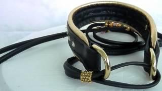 Dog Show Lead,diamond Dog Collar,leather Show Lead ,leather Lead And Collar, Rolled Leather Showset