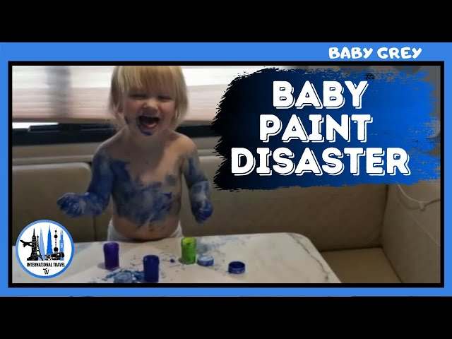 Baby Smurf - RV living with kids -blue baby - baby paints himself.