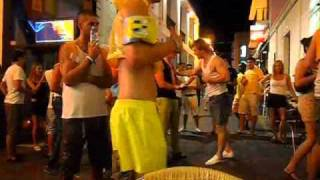 Boy fights with Security guy of Capone Bar - Ibiza - San Antonio Westend