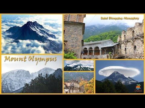 Греция. Гора Олимп, старый Монастырь Святого Дионисия и ледяной водопад Greece Mount Olympus