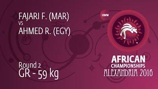 Round 2 GR - 59 kg: R. AHMED (EGY) df. F. FAJARI (MAR) by TF, 0-0