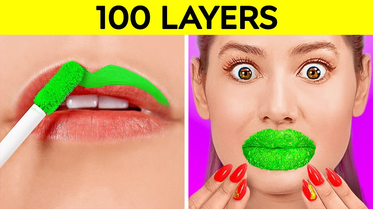 Download 100 LAYERS CHALLENGE! Best 100+ Coats of Makeup, Nails, plasters, Lipstick by 123 GO! CHALLENGE