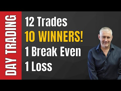 Day Trade Your Way To Wealth! 12 Trades, 10 Winners, 1 Loss, 1 Break Even