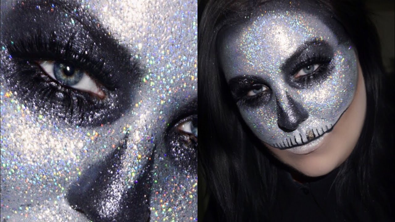 HOLOGRAPHIC GLITTER SKULL HALLOWEEN MAKEUP TUTORIAL - YouTube