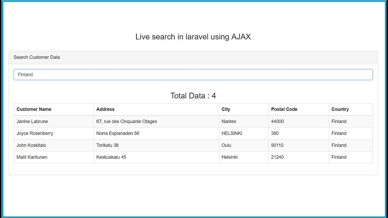 Live search in Laravel using AJAX