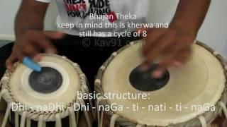 Tabla - Lesson 2 - Kherwa, Relas, Bhajan Theka, Fast Kherwa - www.Kav91.com - HD