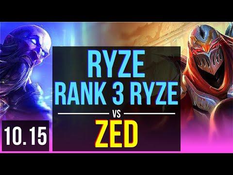 RYZE vs ZED (MID) | Rank 3 Ryze, Rank 8, KDA 12/2/5, Godlike | EUW Challenger | v10.15